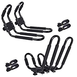 2 Pair Universal Canoe Car Top Mount Carrier Roof Rack Kayak Boat SUV VAN J-bar