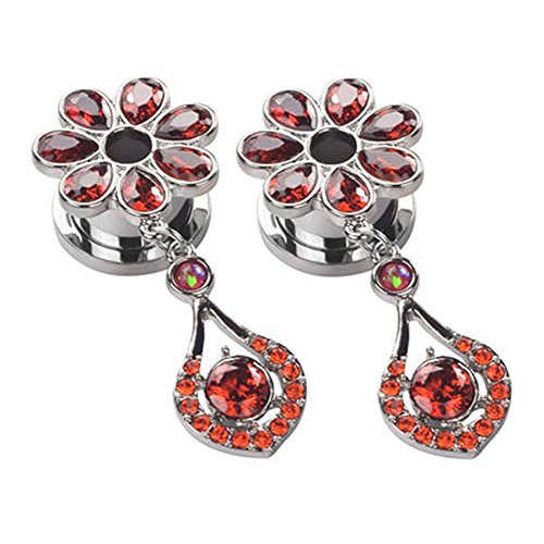 Yr Fashion Stainless Steel Elegant Flower Gem Ear Tunnels Dangle Gauges Piercings Jewelry 9/16