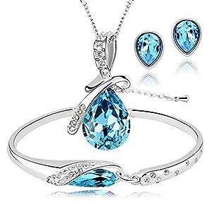 ISAACSONG.DESIGN Women's Silver Plated Rhinestone Teardrop Necklace, Earring, Bracelet Bridal Jewelry Set for Wedding