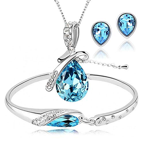 - ISAACSONG.DESIGN Silver Tone Healing Crystal Rhinestone Drop Pendant Necklace, Bracelet, Earring Set for Women (Blue)
