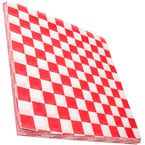 Avant Grub Deli Paper 300 Sheets. Turn Your Backyard Cookout Party into a Classic Drive-In with Red & White Checkered Food Wrapping Papers. Grease-Resistant 12x12 Sandwich Wrap Prevents Food Stains! -