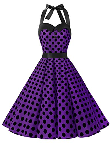 Dressystar Vintage Polka Dot Retro Cocktail Prom Dresses 50's 60's Rockabilly Bandage Purple Black Dot XL