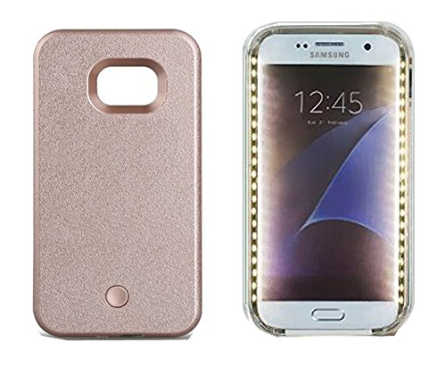 EN-LIFE Samsung Galaxy S6 edge Illuminated Cell Phone Case with Independent Rechargeable Battery Galaxy S6 edge Led Illuminated case Great for a bright Selfie and Facetime - Rose Gold -
