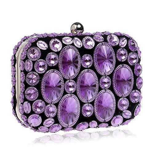 Mujer Púrpura Los De Qztg Iris Bolsos Noche Arco Totalizador Capacidad Pc Para Bolso Del Oro Gran Abs Clásico Poliéster Mano Cristales qqtFAxU