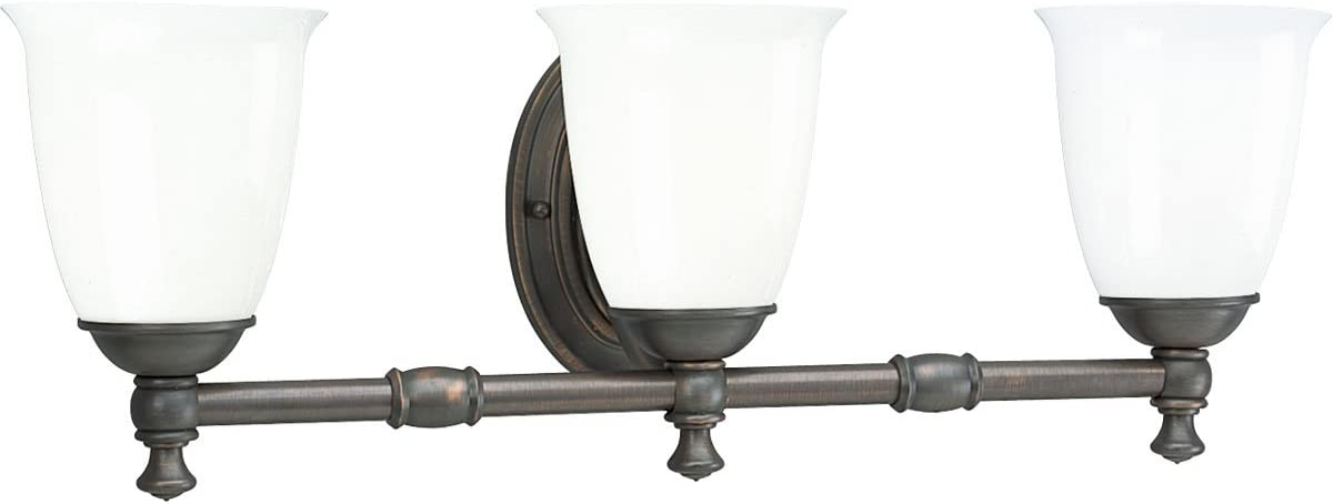 Progress Lighting P3029-74 3-Light Bath Bracket with White Opal Glass, Venetian Bronze