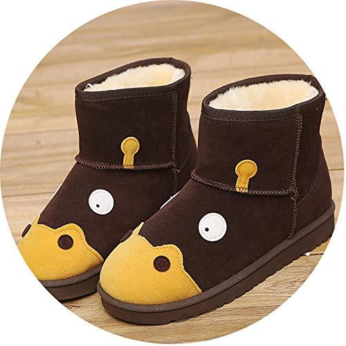 - Cute Cartoon Hippo Women Ankle Snow Boots Winter Flock Platform Plush Slip On Warm Flat Short Casual Booties,Brown,40