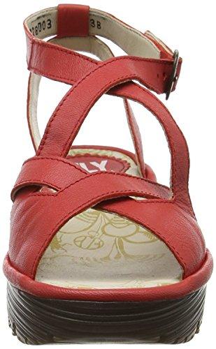 Fly London P500728002, Sandalias de Cuñas Mujer Rojo (Scarlet 003)