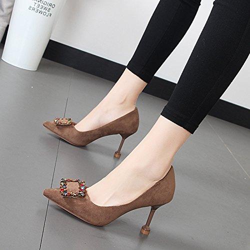de talón y singles fino profunda alto moda cercanías de El parte con zapatos zapatos su de tarjeta de de color versátil de Qiqi punta Luz la el los femeninos Xue xUqpwaFY