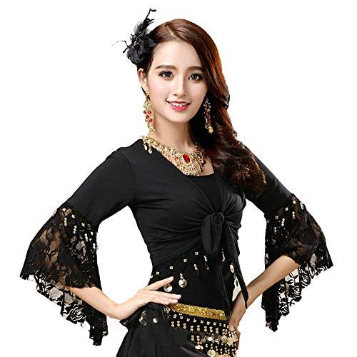 Women's Belly Dance Wrap Tops 3/4 Sleeve Chiffon Tie Tops Gypsy Choli Blouse Black -
