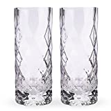 Viski 5205 Raye Gem Crystal Highball Glasses, Multicolor 2pc