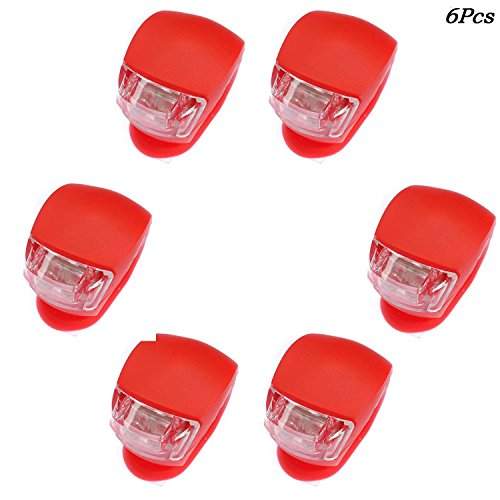 Beeagle- 6Pcs Silicone beetle frog LED Mountain Bike Bicycle Headlights Tail Warning Lights Red