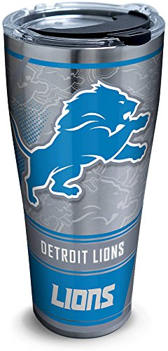 Tervis 1266043 NFL Detroit Lions Edge Stainless Steel Tumbler with Clear and Black Hammer Lid 30oz, Silver