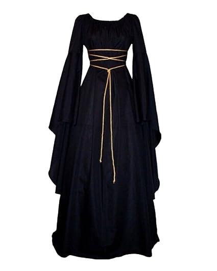 GladiolusA Disfraz Medieval De Mujer Vestido Largo Traje Medieval Cosplay Manga Larga Negro XL