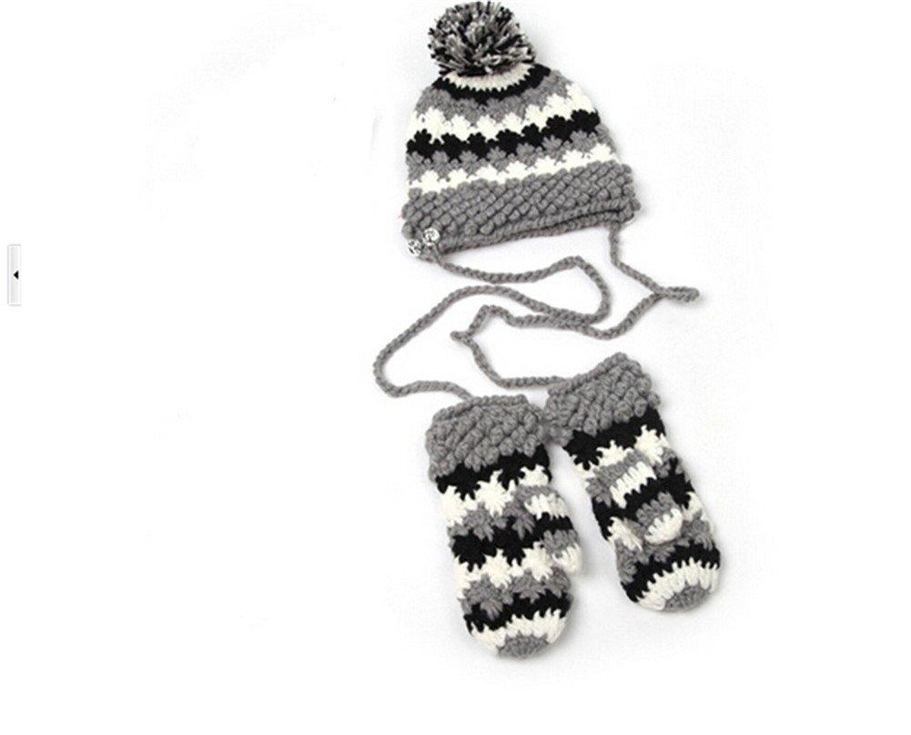 Winter Warm Girls Wool Hat/Gloves Set Women Knitted Siamese Hats Mitten