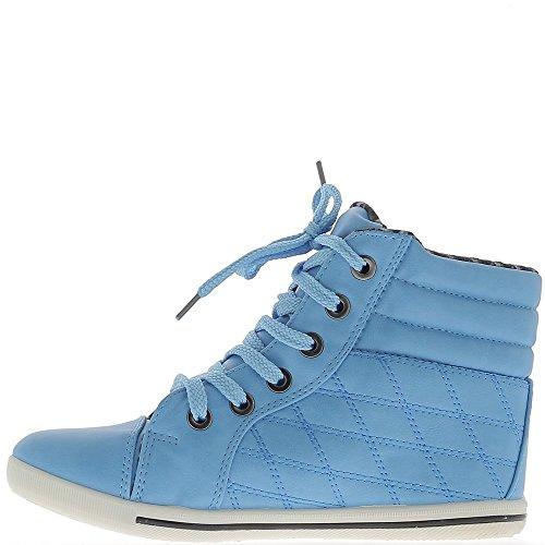 Zapatillas mujer azul subiendo y forrado acolchada