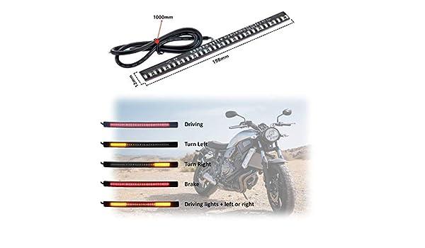 Thlevel Motocicleta Cola Freno Parada Led Se/ñal de giro Luz Luz Tira 12V Impermeable 33 SMD