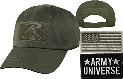 - Olive Drab Tactical Operators Cap + Army Universe Black Patch + Foliage Green REGULAR USA Flag Patch