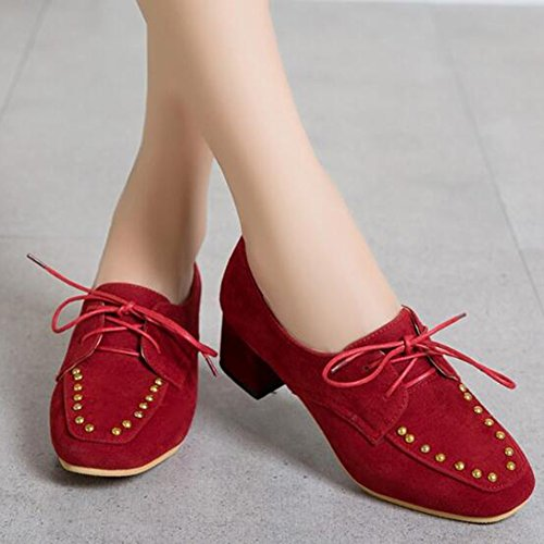 Square Shoes Up Toe Mid Trendy Women's Chunky Easemax Frosted Red Heel Lace Pumps Rivets vwf7Iqqp