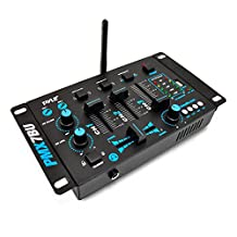 Pyle-Pro PMX7BU Bluetooth 3-Channel DJ MP3 Mixer, Mic-Talkover, USB Flash Reader, Dual RCA and Microphone Inputs, Headphone Jack