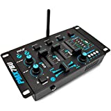 Pyle PMX7BU Bluetooth 3-Channel DJ MP3 Mixer, Mic-Talkover, USB Flash Reader, Dual RCA & Microphone Inputs, Headphone Jack