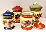 Tuscany Garden Collection Grapes Hand Painted 4pc Canister Set, 84001S by ACK