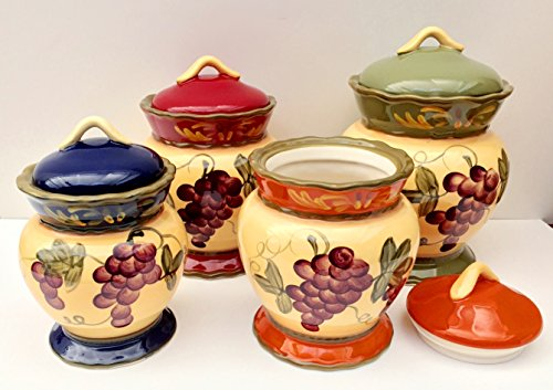Tuscany Garden Collection Grapes Hand Painted 4pc Canister Set, 84001S by ACK by ACK