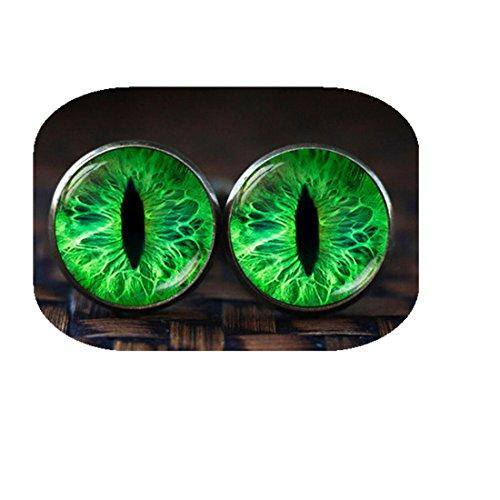 (Hanigbibi Green cat eye cufflinks, cat eye cufflinks, eye cufflinks, Green cufflinks, Cat Lover Gifts, Cat cufflinks )