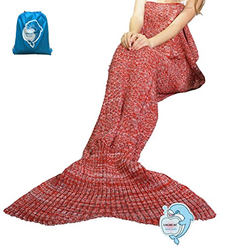 """Price comparison product image LAGHCAT Mermaid Tail Blanket knit crochet Mermaid Blanket for Adult, All Seasons Sleeping Blankets, Double Cable Pattern (71""""x35.5"""", Red and Gray)"""