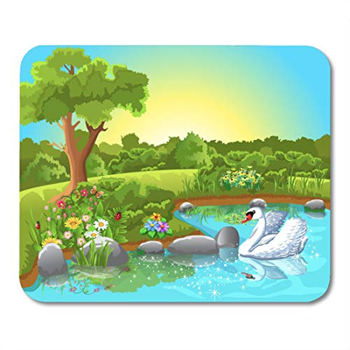 Emvency Mouse Pads Paradise Green Cartoon Swan Floating Lake Pond Scene Beautiful Mouse Pad for notebooks, Desktop Computers mats 9.5