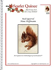 Scarlet Quince HOF001lg Red Squirrel by Hans Hoffmann Counted Cross Stitch Chart, Large Size Symbols