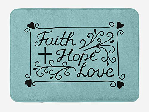 (Hope Bath Mat, Hand Lettering Spiritual Faith Hope Love Quote with Floral Arrangement Hearts, Plush Bathroom Decor Mat with Non Slip Backing, 23.6 W X 15.7 W Inches, Pale Blue and Black)