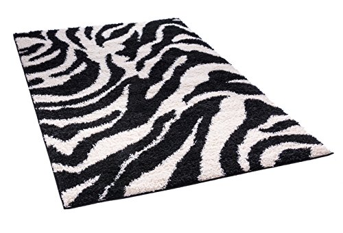 Modern Animal Print 2x3 ( 2' x 3' ) Area Rug Shag Zebra Black & Ivory Plush Easy Care Thick Soft Plush Living - Retro Zebra