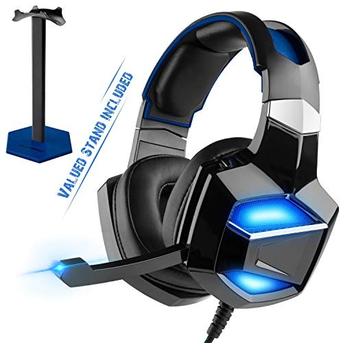 [2019 Edition] Full-Feature USB Hardware Decoding True 7.1 Surround Sound - G-Cord USB Gaming Headset with Stand, Comfortable LED Over-Ear Headphones with Noise Cancelling Microphone for PS4 PC Laptop