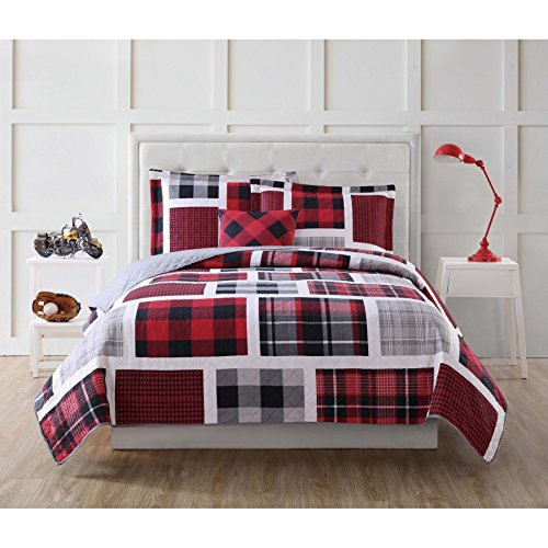 Ln 3 Piece Kids Red Buffalo Plaid Quilt Twin Set, Black Tartan Winery Bedding Glen Check Geometric Patchwork Square Box Pattern For Boys Bedroom Gray Multi Colored Fun Printed Plaids, Polyester