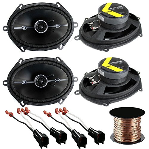 Car Speaker Set Combo of 4 Kicker 6x8 inch 400W 2-Way Car Coaxial Stereo Speakers + 4 Metra Speaker Connector for Ford, Lincoln, Mazda, Mercury, Cache 16g Speaker (400x 6 Ribbed)