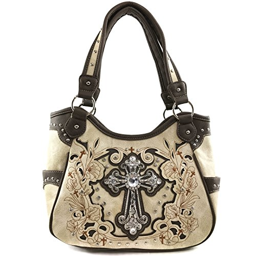 Justin West Tooled Leather Laser Cut Turquoise Rhinestone Cross Concho Studded Shoulder Tote Handbag Purse (Beige Brown (Rhinestone Cross Concho)