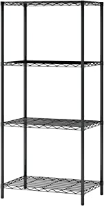 Function Home 4 Tier Wire Shelving Metal Storage Rack Shelving Unit Storage Shelf Pantry Food Shelf Plant Shelves for Kitchen Living Room Office Garage in Black