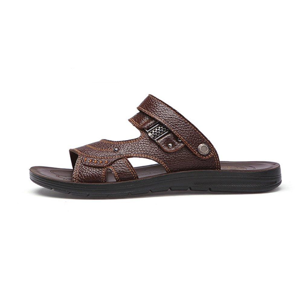 Xiaoqin Leder Männer offene Kappe Casual Leder Xiaoqin Comfort Schuhe Rutschfeste Verstellbare Sandalen geeignet für Innen- und Outdoor-Freizeit-Sport (Farbe : Braun, Größe : 47) Braun 14fdda