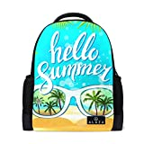My Daily Hello Summer Sunglasses Palm Backpack 14 Inch Laptop Daypack Bookbag for Travel College School