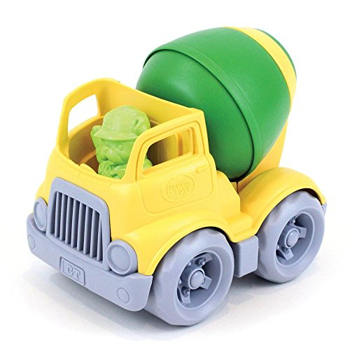 Green Toys Mixer Construction Truck - Green/Yellow Toy, Yellow and Green, 5.75x7.5x5.6