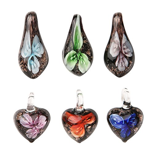 Glass Necklace 6 Pieces Teardrop Floral pop art Pendant