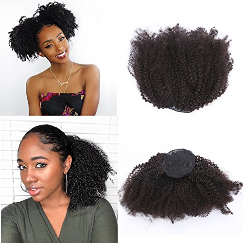Beauty : Anrosa Kinky Curly Drawstring Ponytail Afro Kinky Drawsting Ponytail Afro Ponytail for Natural Hair Kinky Curly Ponytail Hair Piece Human Hair Ponytail for Black Women 14 Inch