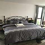 1500T Long Stapled Cotton Duvet Cover Set 4 pieces Modern Embroidery Stylefull/queen^^^white flower dark grey base