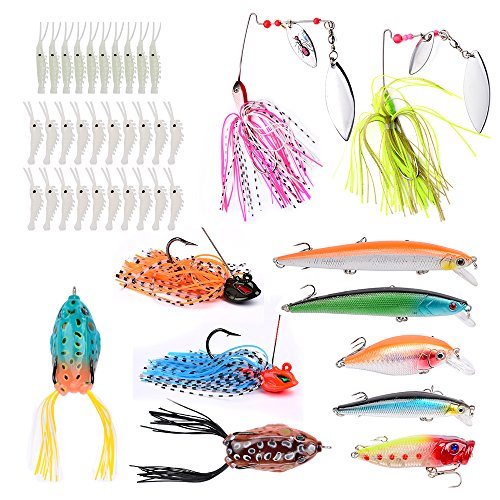 Fishing Tackle Set Soft Sworm Plastic Hard Baits Spinners Artificial Frog Saltwater Wobblers Assorted Fishing Lures Set 41pcs (079)