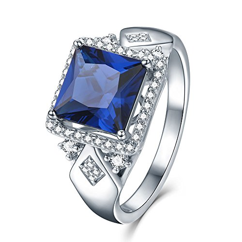 Princess Cut Created Blue Sapphire Engagement Rings in Sterling Silver with Halo Round Side Stones, Size 7