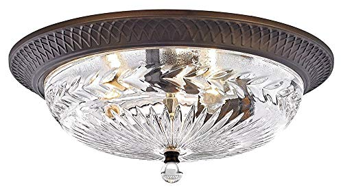 (Traditional Oil Rubbed Bronze Flush Ceiling Light Fitting with Decorative Clear Glass by Happy Homewares)