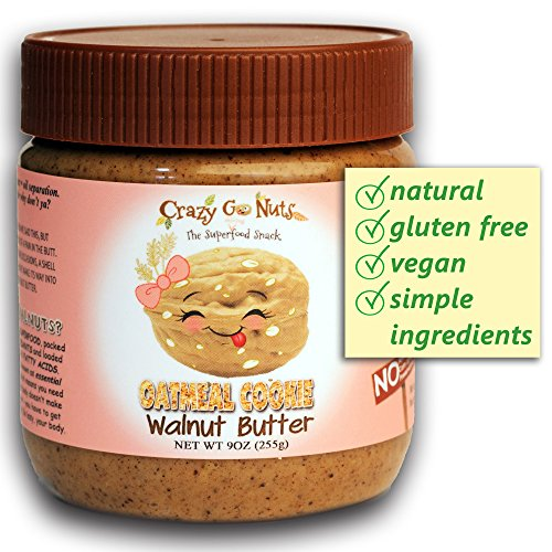 Crazy Go Nuts Flavored Walnut Butter & Healthy Snacks: Gluten Free, Vegan, Low Carb, Non GMO + Keto Snacks, 9oz - Oatmeal Cookie