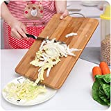 Getko With Device Wooden Bamboo Kitchen Chopping Cutting Board for Vegetables, Fruit, Cheese and Mets with Handle (36 x 26 x 1.8)