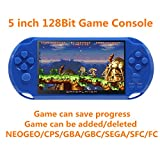 New JXD 128Bit 5 inch Screen 8GB Built-in 1300 Games Retro Video Games Console support Arcade NEOGEO/CPS FC/NES/SFC/SNES/GB/GBC/GBA/SMC/SMD/SEGA Handheld Game Console video music Ebook (Blue)