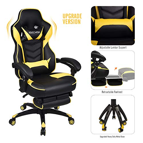 Video Gaming Chair Racing Office – PU Leather High Back Ergonomic Adjustable Swivel Executive Computer Desk Task Large Size with Footrest,Headrest and Lumbar Support (Black+Yellow)